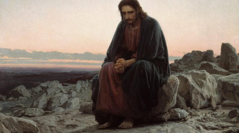 Ante uma reprodução de Ivan Kramskoi: 'Cristo no deserto'